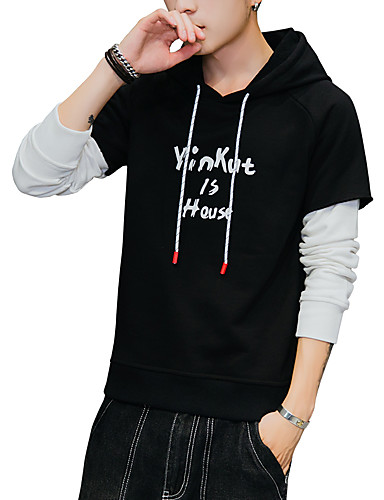 473b070de2f Men s Plus Size Sports Basic   Street chic Long Sleeve Slim Hoodie - Solid  Colored   Color Block   Letter Print Hooded Gray XL   Spring   Fall 6920660  2019 ...