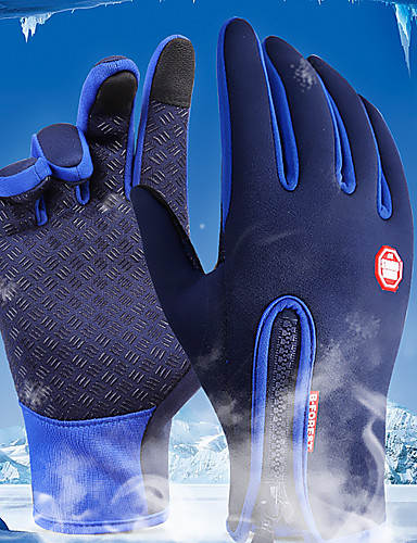 cheap Ski & Snowboard-Winter Bike Gloves / Cycling Gloves Ski Gloves Mountain Bike MTB Thermal / Warm Touch Screen Waterproof Windproof Full Finger Gloves Touch Screen Gloves Sports Gloves Fleece Silicone Gel Black Sky