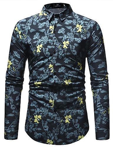 Homens Camisa Social Básico Estampado, Geométrica Preto