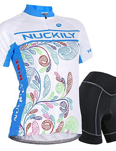 povoljno Odjeća za vožnju biciklom-Nuckily Žene Kratkih rukava Biciklistička majica s kratkim hlačama Plava Cvjetni / Botanički Bicikl Kratke hlače Biciklistička majica Sportska odijela Vodootporno Prozračnost Pad 3D Reflektirajuće