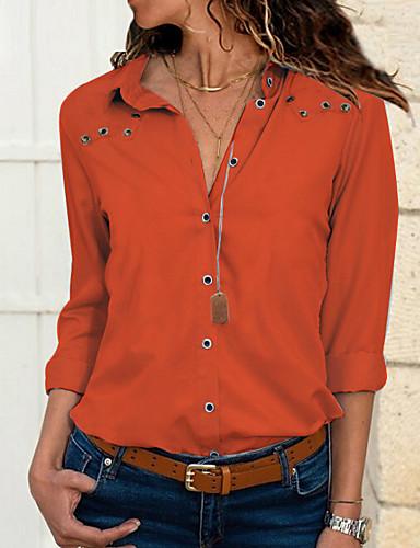 billige Dametopper-Tynn Skjortekrage Store størrelser Skjorte Dame - Ensfarget Grunnleggende Rosa