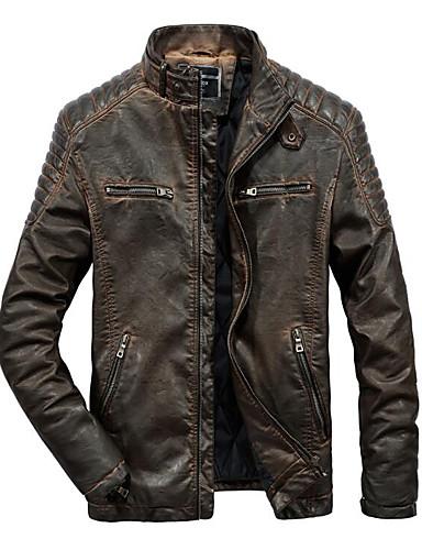 preiswerte Einfarbig-Herrn Ausgehen Frühling & Herbst / Winter Standard Jacke, Einfarbig Ständer Langarm Polyester Braun