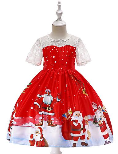 baratos Moda Infantil-Infantil Bébé Para Meninas Vintage Activo Natal Festa Feriado Desenho Animado Natal Manga Curta Altura dos Joelhos Vestido Vermelho