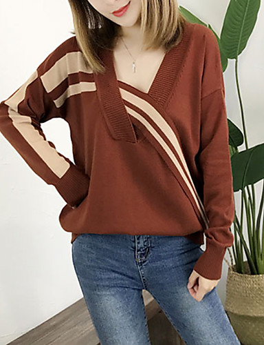 76549174ae50 Women s Daily Striped Long Sleeve Loose Regular Pullover