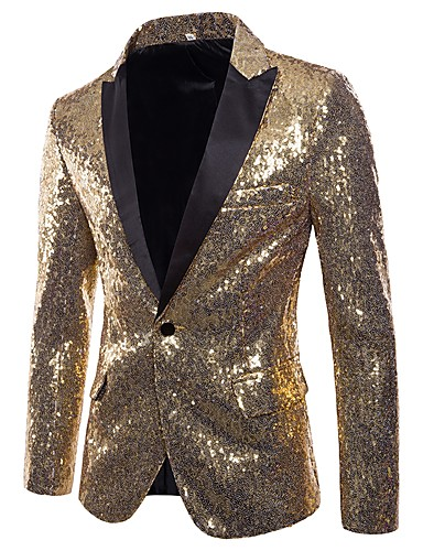 cheap Party Night-Men's Party / Club Basic / Punk & Gothic Winter / Fall & Winter Regular Blazer, Solid Colored V Neck Long Sleeve Polyester Sequins Silver / Red / Purple