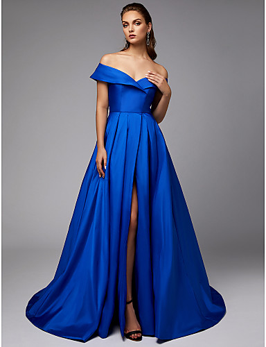 cheap Special Occasion Dresses-A-Line Elegant Blue Engagement Formal Evening Dress Off Shoulder Sleeveless Chapel Train Taffeta with Pleats Split 2020