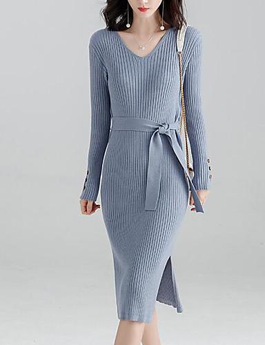 e4a5e7954fa1 Dámské Elegantní Úplet Šaty - Jednobarevné Midi 6924227 2019 –  23.99