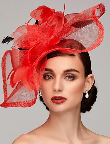 povoljno Šeširi i fascinatori-Perje / Net Kentucky Derby Hat / Fascinators / Headpiece s Perje / Cvjetni print / Cvijet 1pc Vjenčanje / Special Occasion Glava