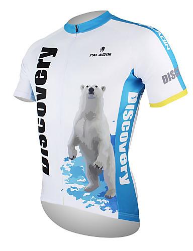 povoljno Odjeća za vožnju biciklom-ILPALADINO Muškarci Kratkih rukava Biciklistička majica White+Blue Polarni medvjed Bicikl Biciklistička majica Majice Brdski biciklizam biciklom na cesti Prozračnost Quick dry Ultraviolet Resistant