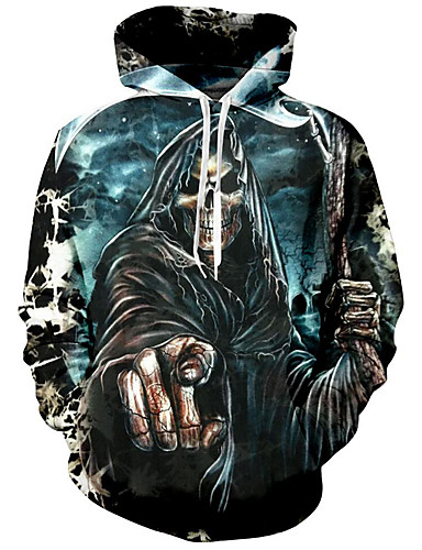 NREALY Su/éter Mens Autumn Fashion 3D Printing Hoodie Hooded Loose Long Sleeve Top Sweatshirt