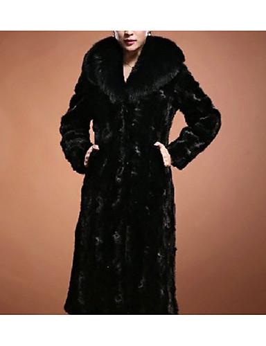 preiswerte Einfarben sind immer In.-Damen Alltag Maxi Pelzmantel, Solide V-Ausschnitt Langarm Kunst-Pelz Schwarz