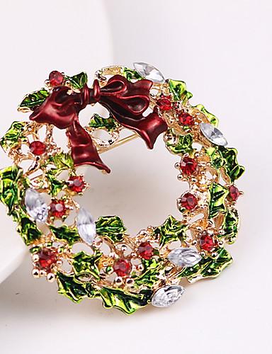 preiswerte Weihnachts Party-Damen Kubikzirkonia Broschen Klassisch Pferd Blume Klassisch Zeichentrick nette Art Brosche Schmuck Grün / Rot Für Weihnachten Alltag