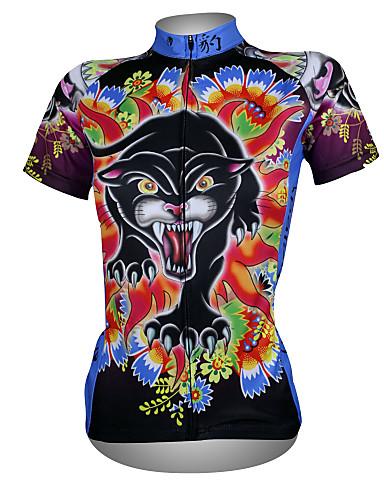 povoljno Odjeća za vožnju biciklom-ILPALADINO Žene Kratkih rukava Biciklistička majica Crveno / crno Leopard Cvjetni / Botanički Veći konfekcijski brojevi Bicikl Biciklistička majica Majice Brdski biciklizam biciklom na cesti