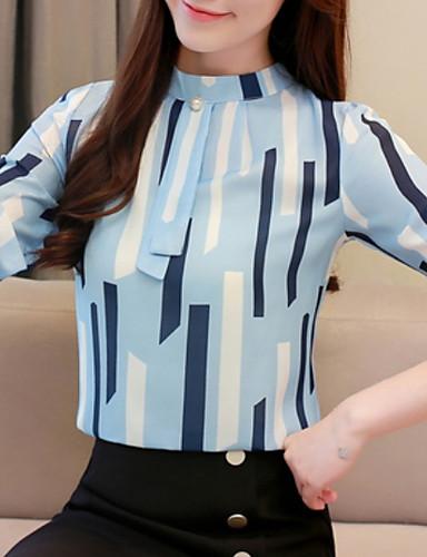 billige Dametopper-Bluse Dame - Geometrisk Blå