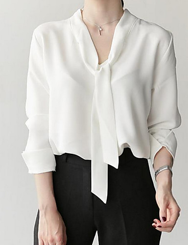 billige Bluser-Tynn V-hals Bluse Dame - Ensfarget Grunnleggende Hvit