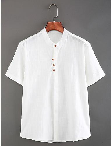 levne Pánské košile-Pánské - Jednobarevné Čínské vzory Košile, Základní Podšívka Stojáček Štíhlý Bílá / Krátký rukáv / Léto