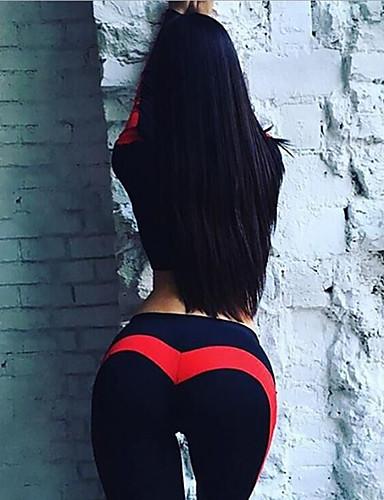 povoljno Vježbanje, fitness i joga-Žene Visoki struk Kolaž Hlače za jogu Color block Zumba Trčanje Fitness Tajice Odjeća za rekreaciju Butt Lift Kontrola trbuščića Power flex 4 puta se istegnite Visoka elastičnost Uske Slim