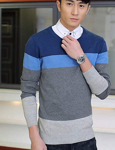 a25be19489e Men s Daily Basic Patchwork Solid Colored   Striped Long Sleeve Plus Size  Slim Regular Pullover