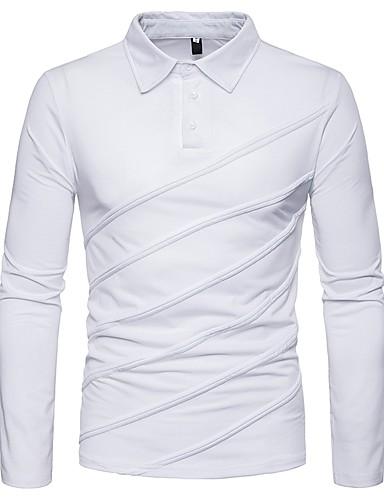 levne Pánská polo trika-Pánské - Jednobarevné Polo Košilový límec Černá / Dlouhý rukáv