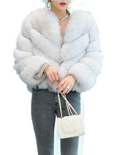 Women s Daily Basic Fall   Winter Short Fur Coat 83d6ba534