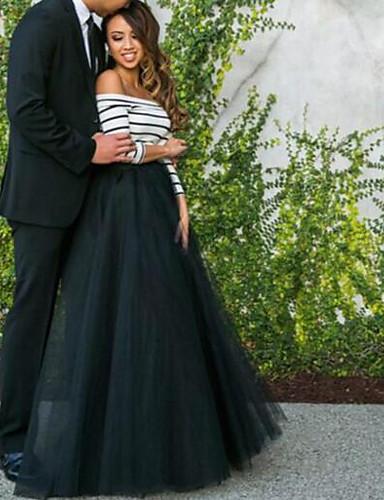 preiswerte Damenbekleidung-Damen Schlank Hose - Solide Schwarz & Weiß Schwarz / Party / Maxi / Schulterfrei / Festtage