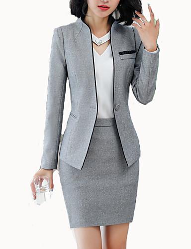 preiswerte Anzüge-Damen Arbeit Geschäftlich Frühling & Herbst Standard Blazer, Solide Ständer Langarm Polyester Schwarz / Grau / Schlank