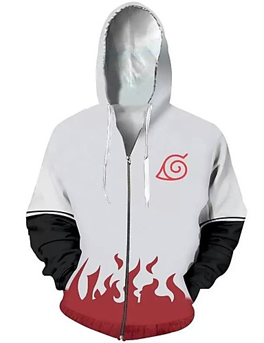 cheap Everyday Cosplay Anime Hoodies & T-Shirts-Inspired by Naruto Naruto Uzumaki Hoodie Terylene Cartoon For Men's / Women's