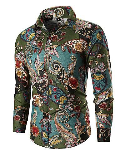 voordelige Uitverkoop-Heren Vintage / Standaard Overhemd Katoen Paisley / Tribal Klaver / Lange mouw