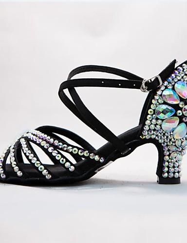 preiswerte Tanzschuhe-Damen Tanzschuhe Satin Schuhe für den lateinamerikanischen Tanz Glitter / Schnalle / Kristall Verzierung Absätze Keilabsatz Maßfertigung Schwarz / Braun / Leistung / Leder / EU40