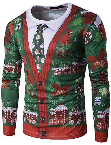 levne Vánoce-Pánské - Sněhová vločka Vánoce Tričko Kulatý Sněhová vločka Černá / Dlouhý rukáv / Podzim / Zima