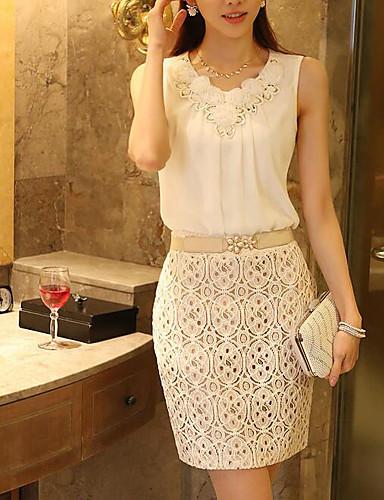 preiswerte Damenbekleidung-Damen Solide Baumwolle Bluse Weiß