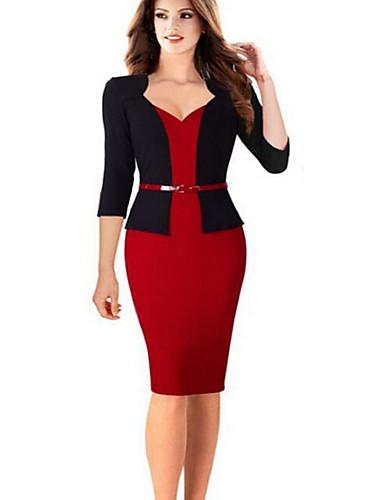 levne Pracovní šaty-Dámské Práce Základní Štíhlý Pouzdro Šaty - Jednobarevné Délka ke kolenům Srdcový výstřih