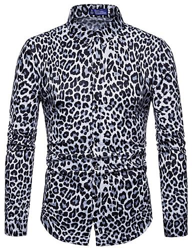 voordelige Herenoverhemden-Heren Standaard Print Overhemd Luipaard Wit