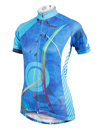cheap Massive Clearance Sale-ILPALADINO Women's Short Sleeve Cycling Jersey Polyester Blue Plus Size Bike Jersey Top Mountain Bike MTB Road Bike Cycling Breathable Quick Dry Ultraviolet Resistant Sports Clothing Apparel