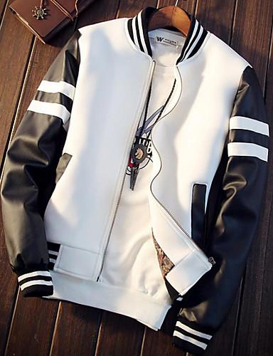 preiswerte Baseballjacken-Herrn Alltag Winter Standard Jacke, Einfarbig Ständer Langarm PU Weiß / Schwarz