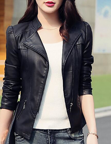 cheap Women's Leather & Faux Leather Jackets-Women's Stand Collar Faux Leather Jacket Short Solid Colored Daily Basic Black S M L
