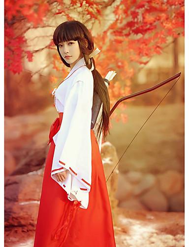 povoljno Anime cosplay-Inspirirana InuYasha Kikyo / Miko Anime Cosplay nošnje Japanski Cosplay Suits / Kimono Jednobojni Dugih rukava Top / Hlače Za Žene