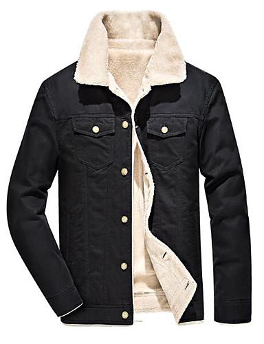preiswerte Einfarbig-Herrn Ausgehen Winter / Herbst Winter Standard Jacke, Einfarbig Umlegekragen Langarm Polyester Schwarz / Armeegrün / Khaki
