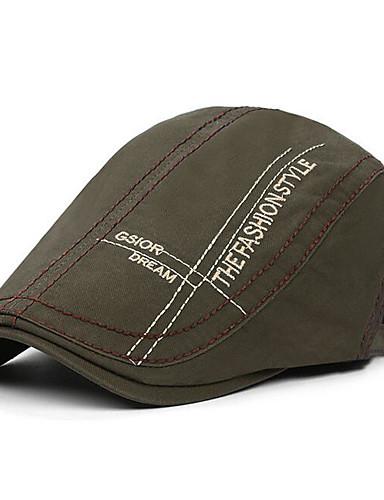billige Hatter til herrer-Herre Grunnleggende Beret Trykt mønster Polyester Svart Mørkegrå Navyblå