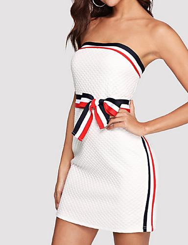 preiswerte Bodycon für den Klub-Damen Party Ausgehen Sexy Schlank Bodycon Kleid Solide Mini Trägerlos