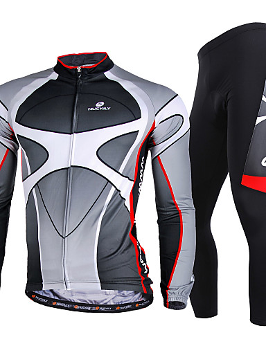 cheap Cycling Jersey & Shorts / Pants Sets-Nuckily Men's Long Sleeve Cycling Jersey with Tights Winter Lycra Polyester Gray Gradient Bike Clothing Suit Windproof Breathable Quick Dry Ultraviolet Resistant Reflective Strips Sports Gradient