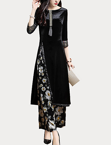 74d663eb85 Women's Going out Basic / Sophisticated Slim Long Set - Floral, Print / Wide  Leg Pant / Spring / Fall 6334488 2019 – $38.95