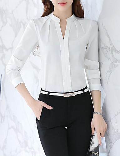 billige Dametopper-Tynn V-hals Bluse / Skjorte Dame - Ensfarget, Flettet Forretning / Grunnleggende Arbeid Hvit