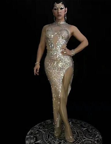 preiswerte Exotic Dancewear-Exotische Tanzkleidung Strass Bodysuit / Club Kostüm Damen Leistung Elasthan Kristalle / Strass Ärmellos Kleid