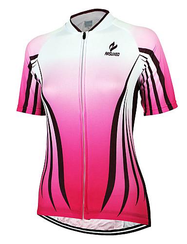 povoljno Odjeća za vožnju biciklom-Arsuxeo Žene Kratkih rukava Biciklistička majica Pink Dungi Bicikl Biciklistička majica Majice Brdski biciklizam biciklom na cesti Prozračnost Quick dry Anatomski dizajn Sportski 100% poliester Odjeća