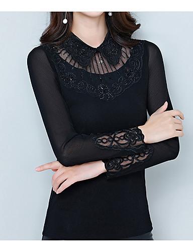 billige Dametopper-Tynn Skjortekrage Store størrelser T-skjorte Dame - Ensfarget, Lapper Grunnleggende Svart