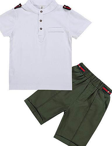 307817118e6a9 Çocuklar Genç Erkek Temel Günlük Solid Kısa Kollu Normal Normal Polyester  Kıyafet Seti Beyaz 6914457 2019 – $14.17