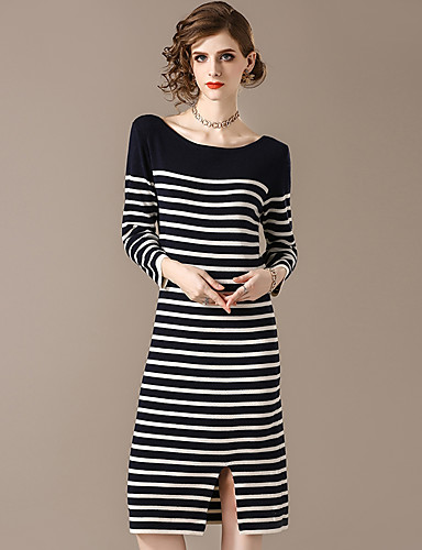 7254ae2cbc4f Women s Party   Going out Street chic Slim Sweater Dress - Striped  Patchwork Fall Blue White One-Size 6920517 2019 –  73.99