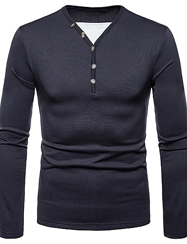cheap Henley Shirts-Men's Daily T-shirt Graphic Solid Colored Long Sleeve Tops V Neck Black Wine Dark Gray