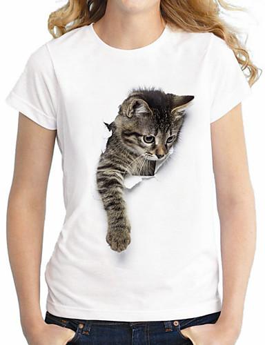 billige Dametopper-Bomull Store størrelser T-skjorte Dame - Dyr Grunnleggende / Gatemote Katt Hvit / Sommer